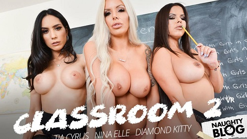 Detention time with Diamond Kitty, Nina Elle, and Tia Cyrus 2019 [VR Smartphone/FullHD]